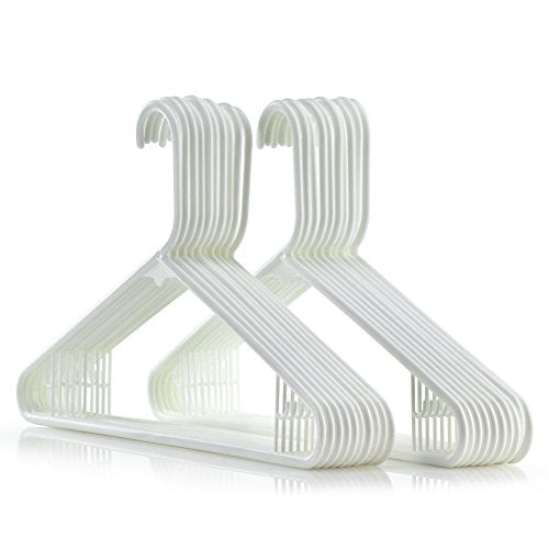HANGERWORLD 20 White 16inch Plastic All Purpose Coat Clothes Garment Pant Skirt Bar Hangers Loop Hooks