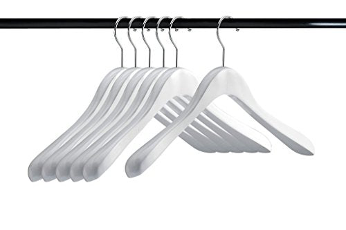 A1 Hangers White wooden hangers (Set of 6) Extra Thick clothes hangers for coat hanger and suit hangers