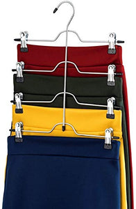 Bright Sun Quality Space Saving 4 Tier Trouser Skirt Hanger (Set of 3) Sturdy Luxurious Chrom #YHAS