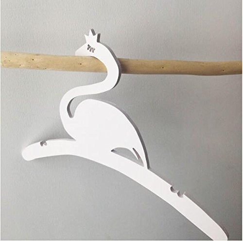 Cute flamingo Decoration Hanger Nordic Style racks Kids Room Softcover Clothes hangers Creative Crafts Hangers (2, White)