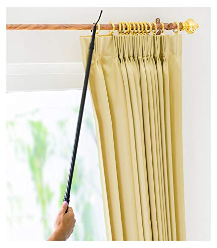 "Drapery Pull Rod - The Original 36-62"" Universal Telescoping Drapery Pull Rod and Adjustable Curtain Wand for Easier Opening and Back Doubles as a Clothes Hook Hanger for Closet Storage Organization"