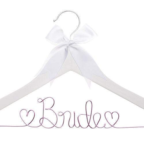 Ella Celebration Bride to Be Wedding Dress Hanger Wooden and Wire Hangers for Brides (White Wood Pink Wire)