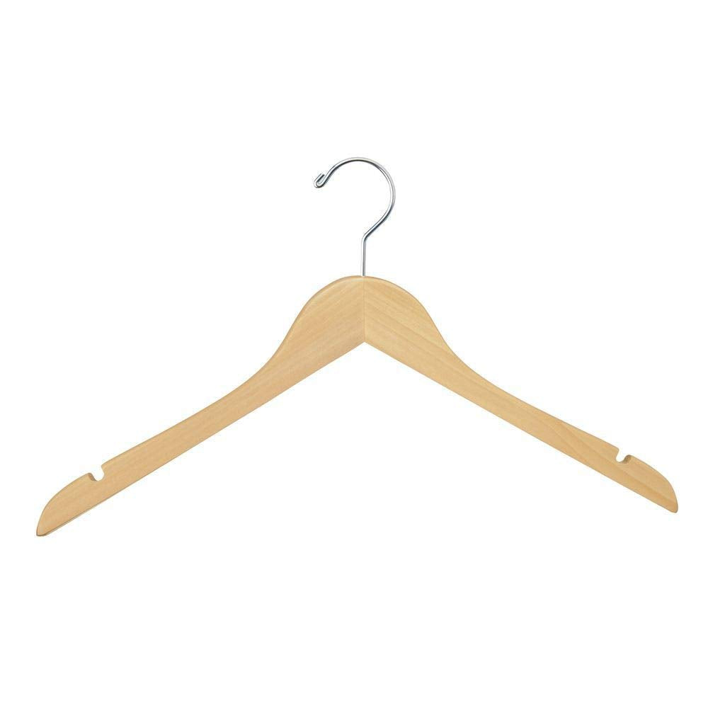 "Econoco WH1731NC Wishbone Wooden Hanger with Chrome Hook, No Bar, 17"", Natural (Pack of 100)"