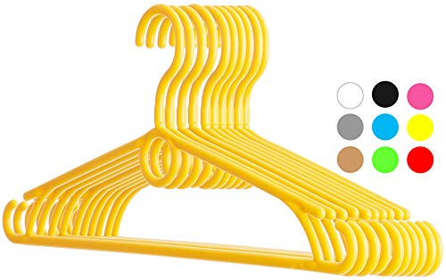 "Dream-home Childrens Plastic Clothes Hangers - 12.6"" Wide - 360° Swivel Hook - Strong & Durable - Side Hooks for Spaghettis & Baby Dresses, Loop for Cascading or Kids Accessories - Set of 20 - Yellow"