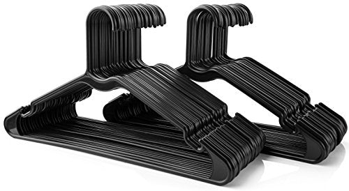 50pc Black Tubular Clothes Hanger Sets – Space Saving - Perfect for Dresses and Blouses - Work Great for Shirts, T-Shirts and Scarves