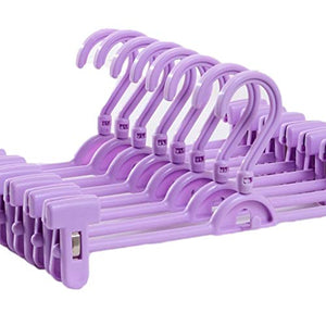 CmfwaMedsr Multifunctional Adjustable Plastic Pant Hanger,Non-Slip Clips Heavy Duty Trousers Skirt&Kids Clothes-Purple 10 Pack
