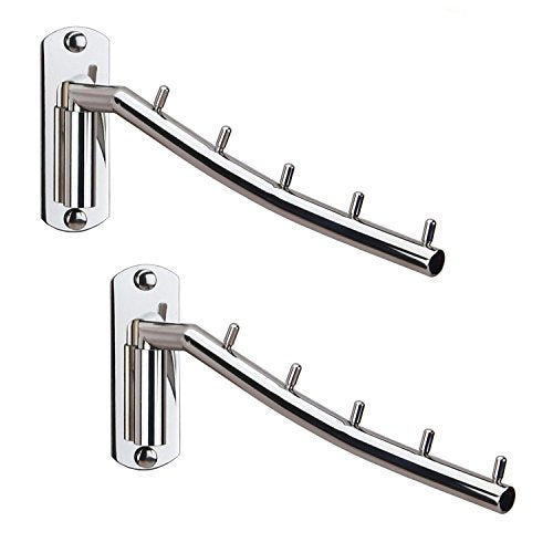 Folding Wall Mounted Clothes Hanger Rack Wall Clothes Hanger Stainless Steel Swing Arm Wall Mount Clothes Rack Heavy Duty Drying Coat Hook Clothing Hanging System Closet Storage Organizer - 2Pack