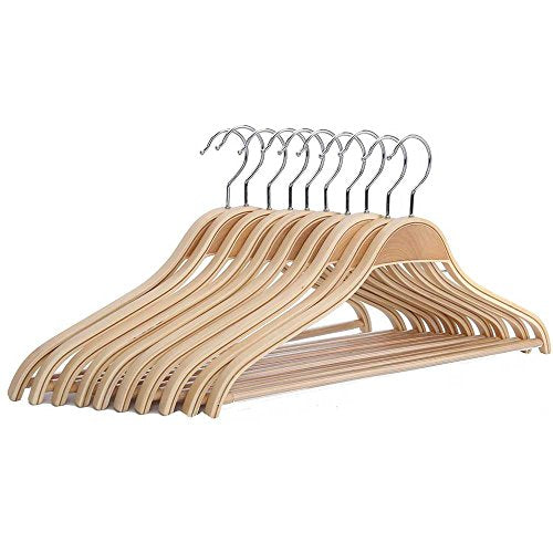Freitec Solid Wood Cloth Hangers with Non Slip Bar Notched Shoulder and 360 Degree Swivel Hook, Set of 10
