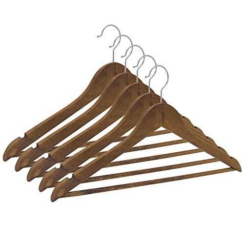 Closet Complete Wood Suit Hanger, Distressed Natural, Set of 5