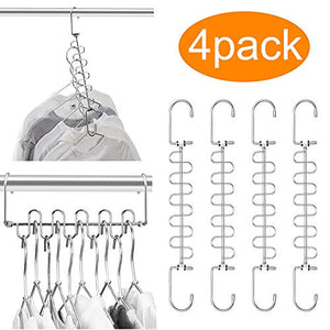 MeetU Magic Cloth Hanger Space Saving Hangers Metal Closet Organizer for Closet Wardrobe Closet Organization Closet System (Pack of 4)