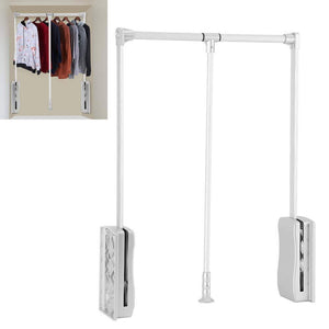 GOTOTOP Wardrobe Hanger, Aluminum Closet Storage Organizer Clothes Hanger Adjustable Pull-Down Closet Rod Wardrobe Lift Organizer (600-830mm)