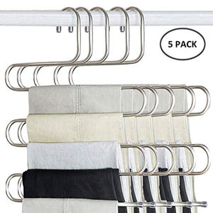 Forestking S Type Pants Hanger,Multi-Purpose 5 Layers Stainless Steel Pant Rack Space Saver Hangers Clothes Organizer for Trousers Towels Scarf and Tie