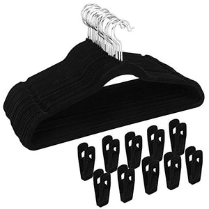 Corodo Velvet Hangers with Clips Black, Clothes Hangers Heavy Duty Non Slip, Clothing Hangers Ultra Thin for Blouses, Dress, Pants, 30 Pack Pants Hangers with 20 Pack Velvet Hangers Clips