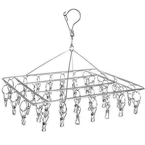 DuoFire Stainless Steel Clothes Drying Racks Laundry Drip Hanger Laundry Clothesline Hanging Rack Set of 36 Metal Clothespins Rectangle For Drying Clothes, Towels, Underwear, Lingerie, Socks