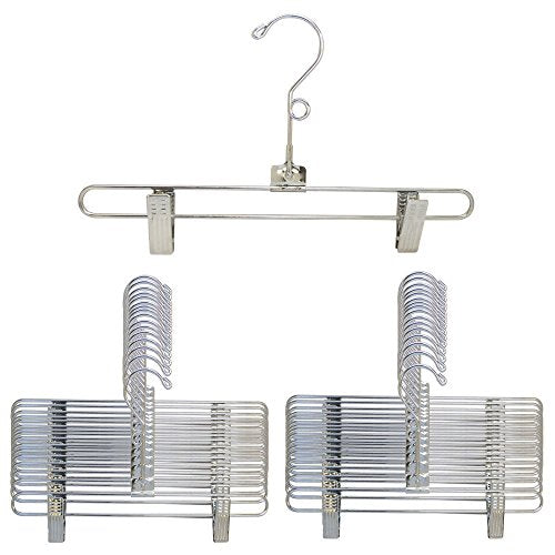 "DBM 25 Pc Hangers Size 12"" Chrome Metal Wire Pant Skirt Clip Pinch Grip Fixture Retail Display Adult Clothing"