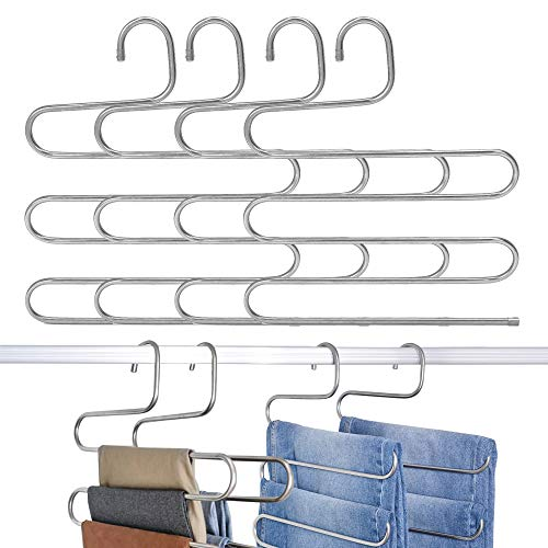 GRANNY SAYS 4 Pack S-Type Magic Pants Tier Hangers, Metal Closet Space Saving Hangers Organizer
