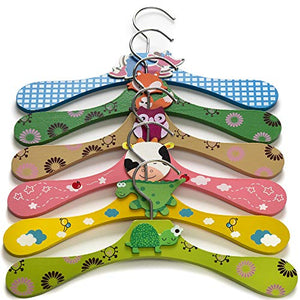 Booba Baby Kids and Baby Wooden Colorful Animal Shaped Clothes Hangers. 6 Pcs Set
