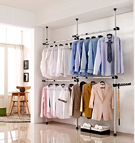 Estink Garment Rack, Portable Indoor Garment Hanger Tools Heavy-Duty Adjustable DIY Coat Hanger Clothes Wardrobe 3 Poles 4 Bars Home Hanging Rack
