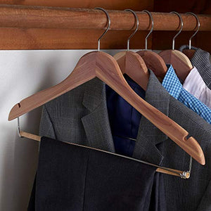 Household Essentials CedarFresh 26340 Red Cedar Wood Clothes Hangers | Locking Trouser Bar and Swivel Hook | Set of 4