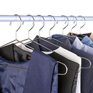 DAVITU Hangers & Racks - 45cm Stainless Steel Strong Metal Wire Hangers, Coat Hanger, Standard Suit Hangers, Clothes Hanger (30 pcs/Lot)