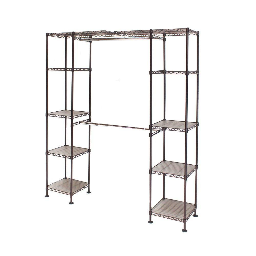 "Seville Classics Double-Rod Expandable Clothes Rack Closet Organizer System, 58"" to 83"" W x 14"" D x 72"", Satin Bronze"