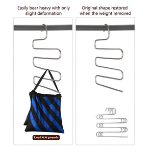 Multi-Purpose Pants Hangers, CEISPOB S-type 5 Layers Stainless Steel Clothes Hangers Storage Pant Rack Closet Space Saver for Trousers Jeans Towels Scarf Tie (4 pack)