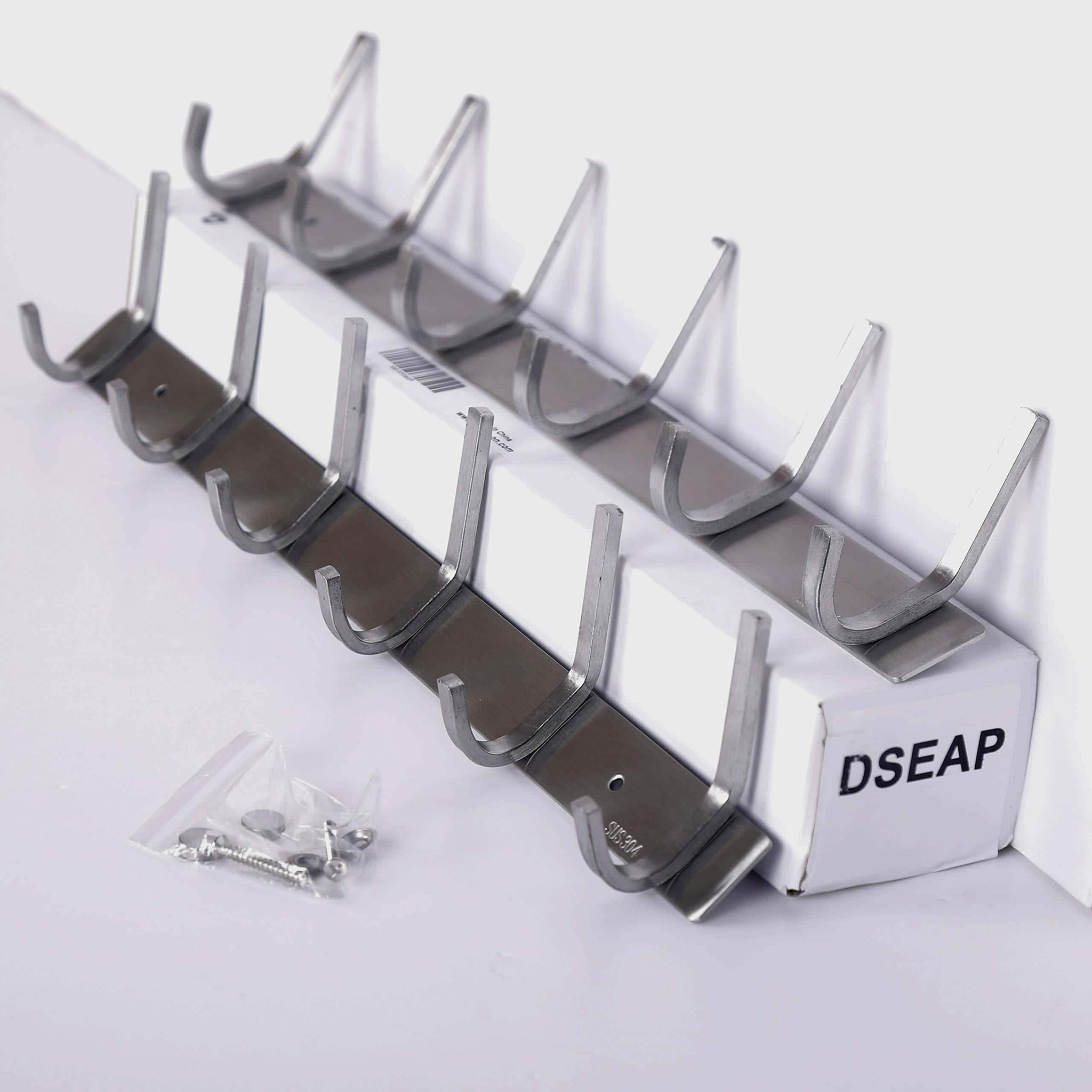 Dseap Wall Mounted Coat Rack: 6-Hooks, Stainless Steel 304, Metal Hook Rail, Hook Rack, Coat Hooks, Bath Towel Hooks, 2 Packs