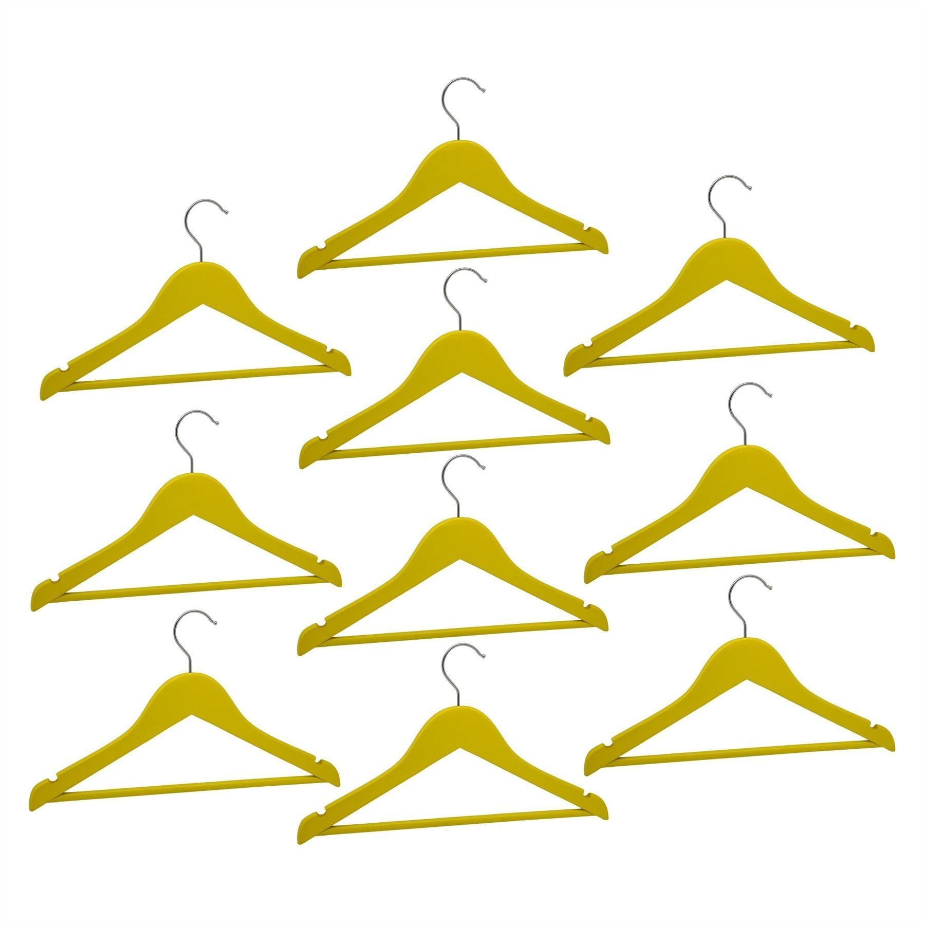 Harbour Housewares Children's Wooden Clothes Hanger - Yellow - Pack of 10