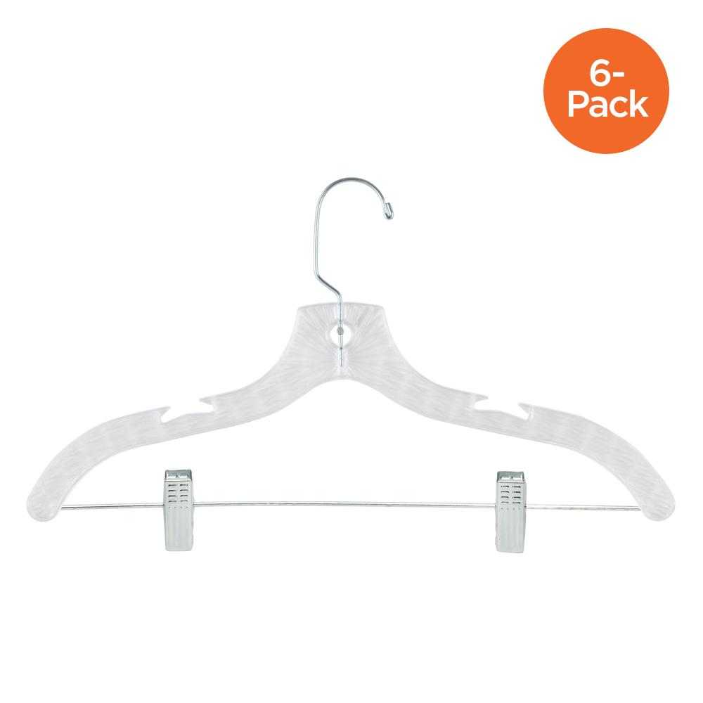 6-Pack Crystal Suit Hangers with Clips, Clear