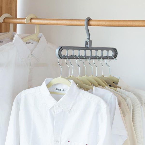 Multi-Port Support Circle Clothes Hanger Clothes Drying Rack Multifunction Plastic Scarf Clothes-HongKong BestLife General Merchandise Co., Ltd-Light Grey-EpicWorldStore.com