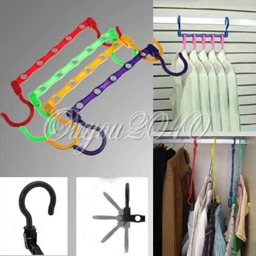 5 Hole Space Saving Hangers Wonder Magic Clothes Closet Hanger Organizer Storage