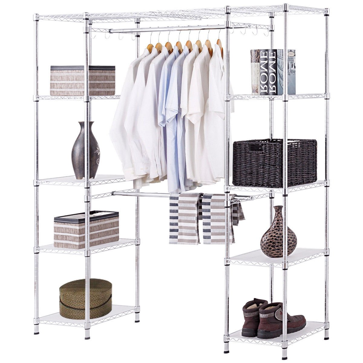 Expandable Free Standing Closet Clothes Hanger Rack