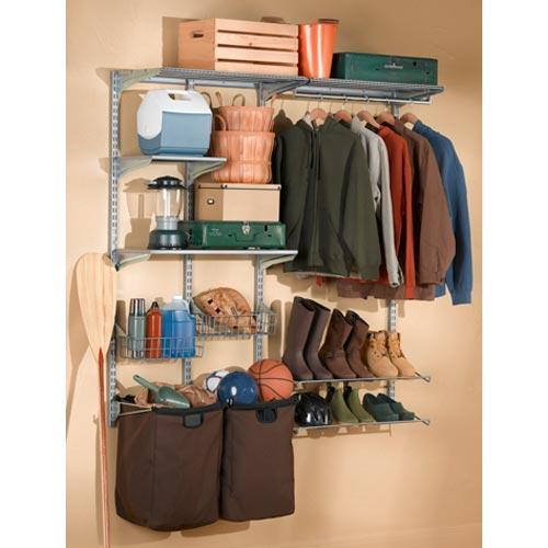 Triton Products Storability Wall w/ 2 Storage/Recycle Bags, Shoe Racks & Clothes Hanger