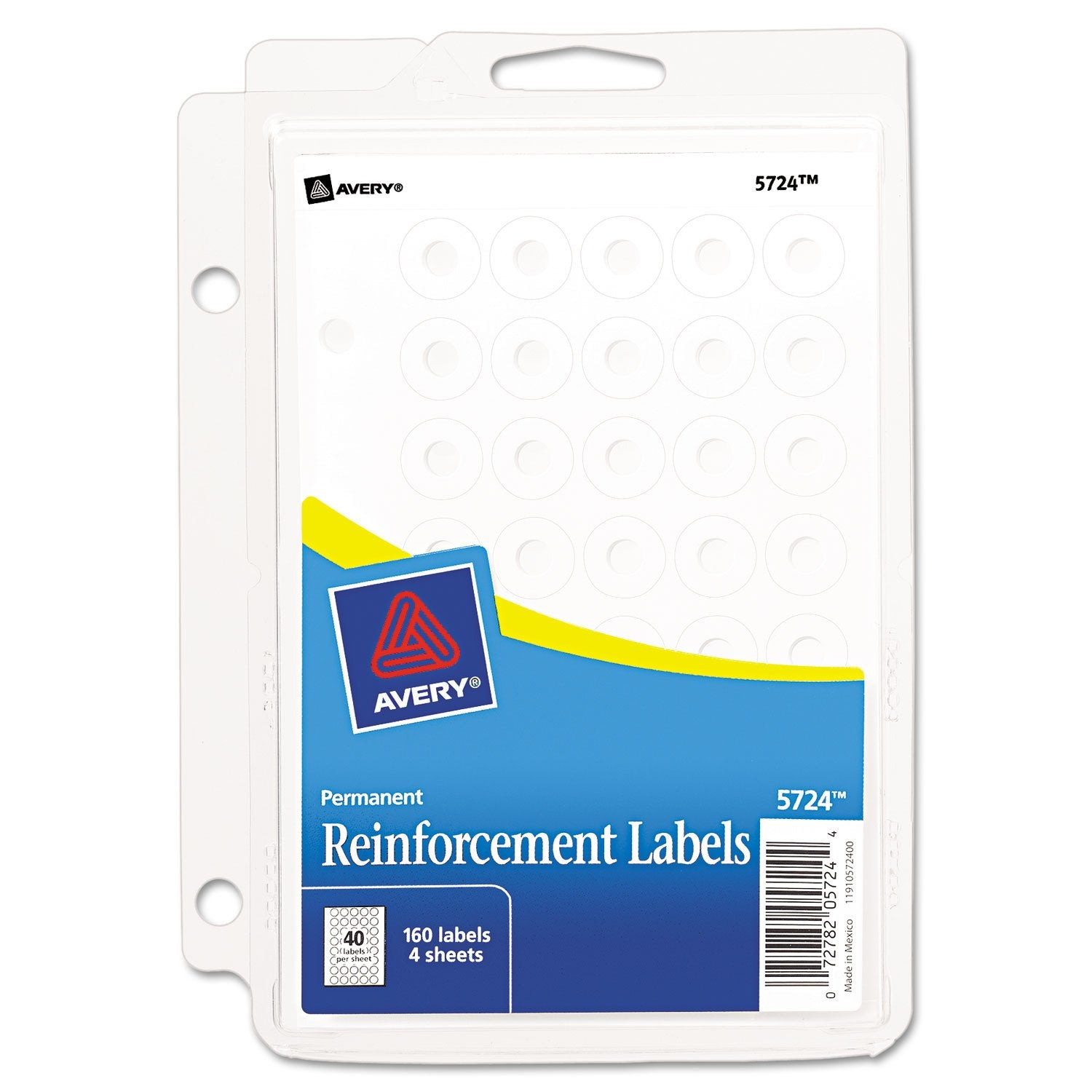 "Binder Pack Hole Reinforcements, 1/4"" Dia, White, 160/pack"