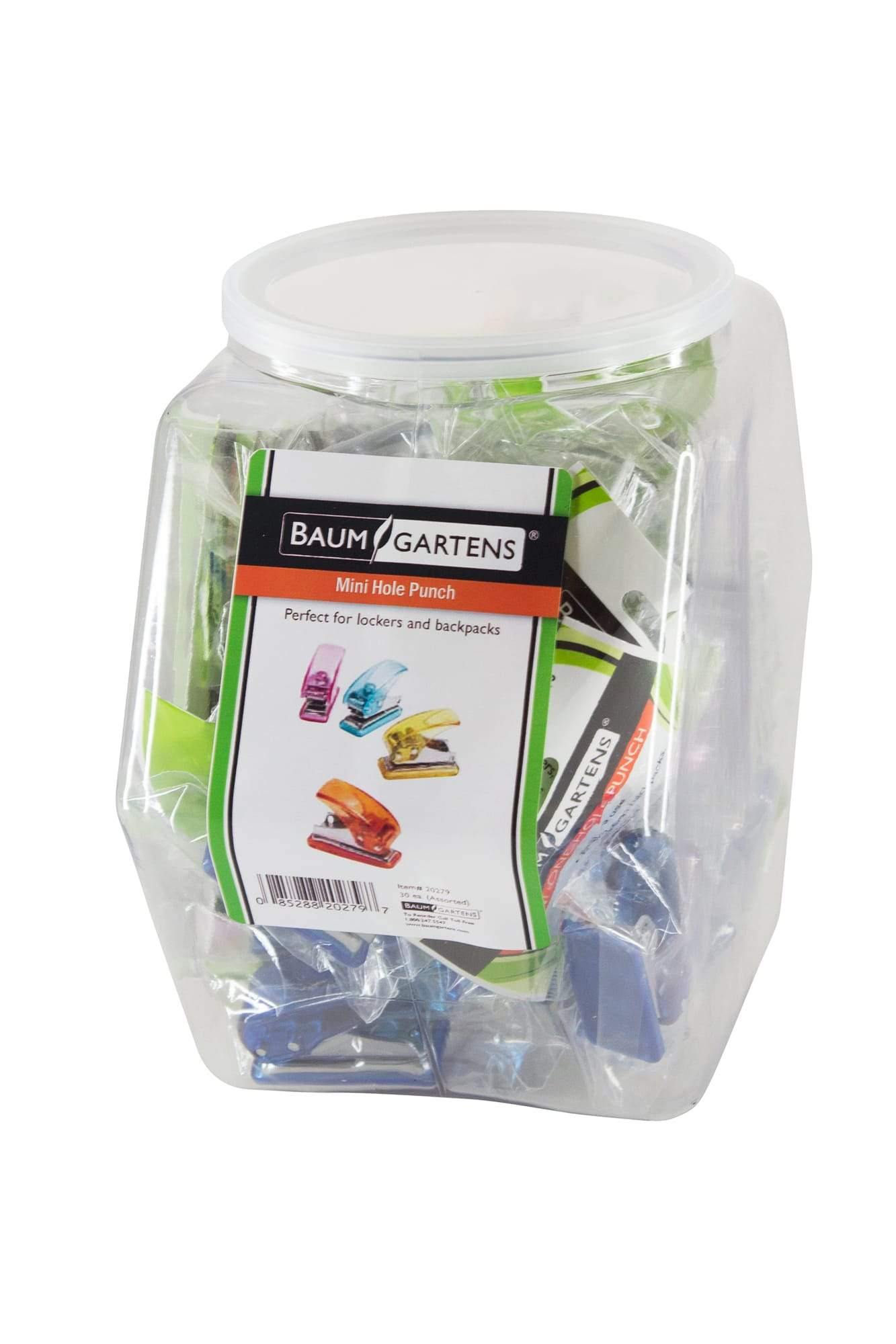 Baumgartens Mini Hole Punch Hexagonal Tub Display of 30 ASSORTED Colors (20279)