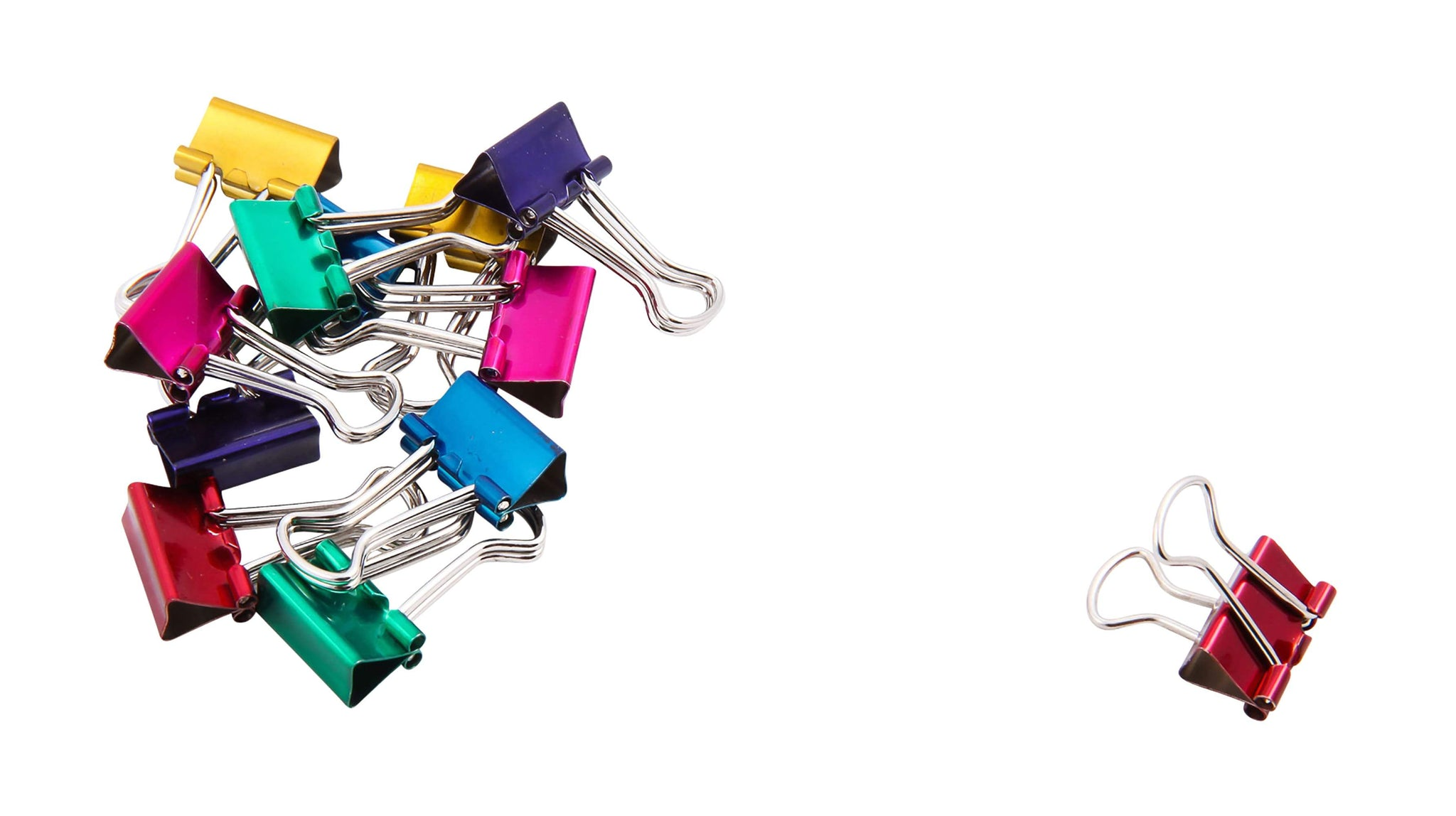 Baumgartens Metallic Designer Binder Clips Mini 12 Pack ASSORTED Colors (29710)