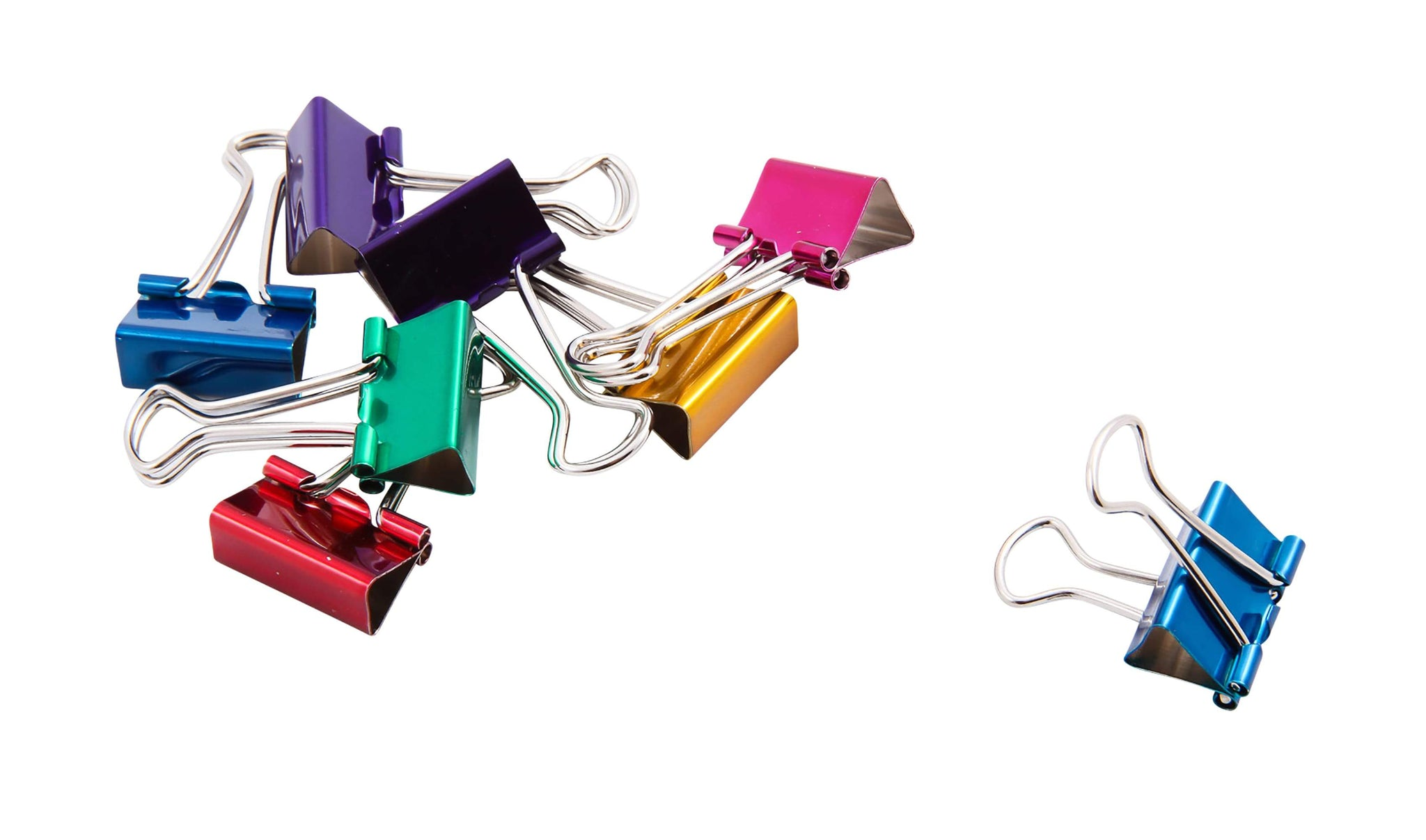 Baumgartens Metallic Designer Binder Clips Small 8 Pack ASSORTED Colors (29720)