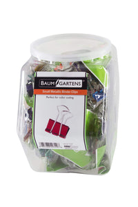 Baumgartens Designer Binder Clips Metallic Small Hexagonal Tub Display of 24 ASSORTED Colors (29729)