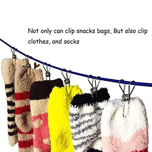 Mobivy Clothes pins Multi-purpose Stainless Steel Wire,Cord Clothes Pins Utility Clips,Hooks for Home/Office