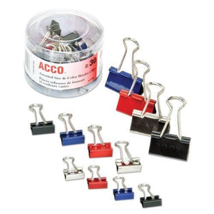 ACCO Binder Clips, Assorted Sizes, Assorted Colors, 30 Clips / Tub (A7071130)