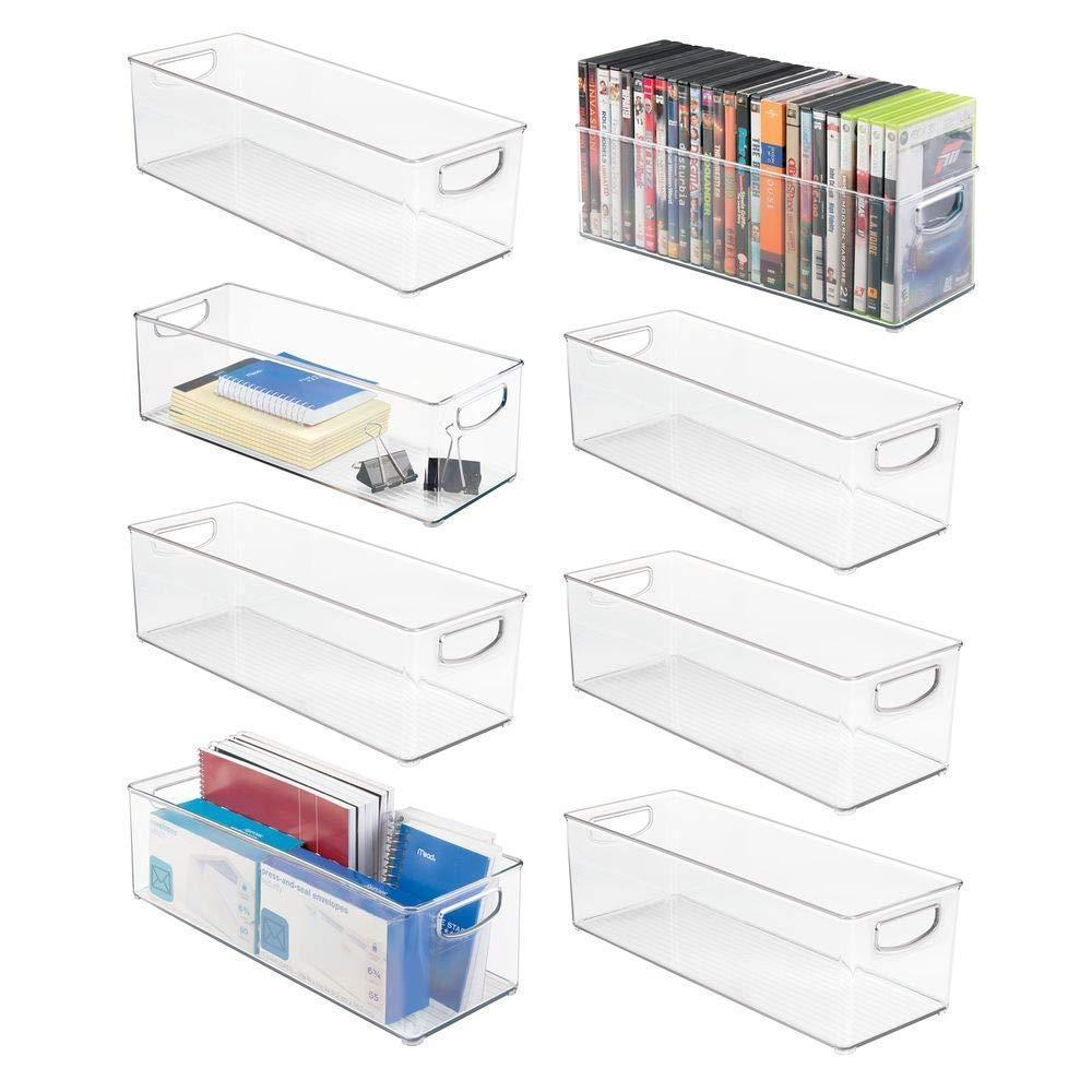 "mDesign Large Stackable Plastic Storage Bin Container, Home Office Desk and Drawer Organizer Tote with Handles - Holds Gel Pens, Erasers, Tape, Pens, Pencils, Markers - 16"" Long, 8 Pack - Clear"