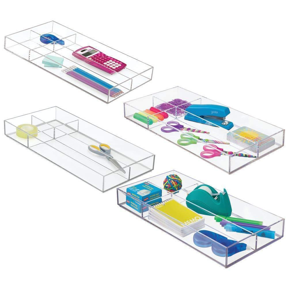 "mDesign Plastic Divided Drawer Organizer for Home Office, Desk Drawer, Shelf, Closet - Holds Highlighters, Pens, Scissors, Adhesive Tape, Paper Clips, Note Pads - 4 Sections, 16"" Long, 4 Pack - Clear"