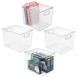 "mDesign Plastic Storage Bin with Handles for Office, Desk, Book Shelf, Filing Cabinet - Organizer for Sticky Notes, Pens, Notepads, Pencils, Supplies - BPA Free, 10"" Long, 4 Pack - Clear"