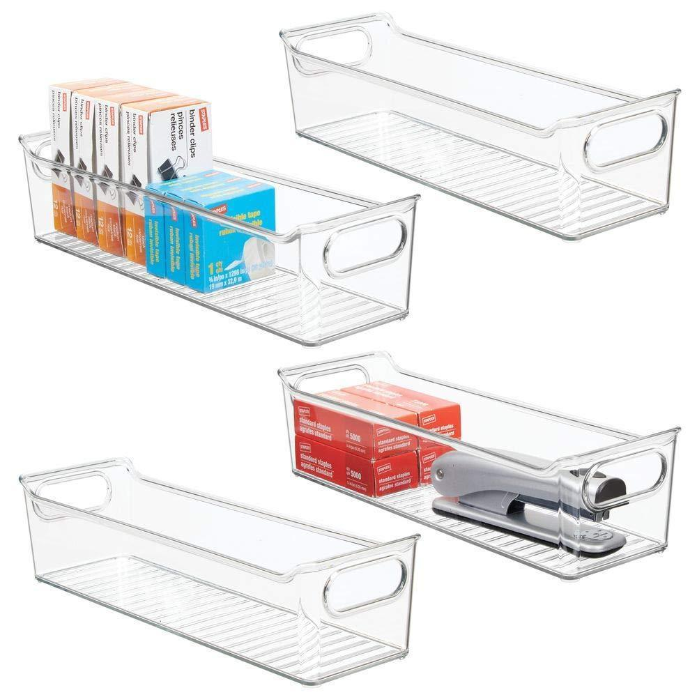 "mDesign Slim Plastic Home, Office Storage Bin Container - Desk and Drawer Organizer Tote with Handles - Holds Gel Pens, Erasers, Tape, Pens, Pencils, Highlighters, Markers - 14"" Long, 4 Pack - Clear"