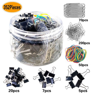 352 Pieces Assorted Black Mediuml/Small/Mini/Binder Clips, Jumbo/Small Sliver Paper Clips, Muti-Colored Rubber Bands, for Office School Clips and Personal Document Organizing