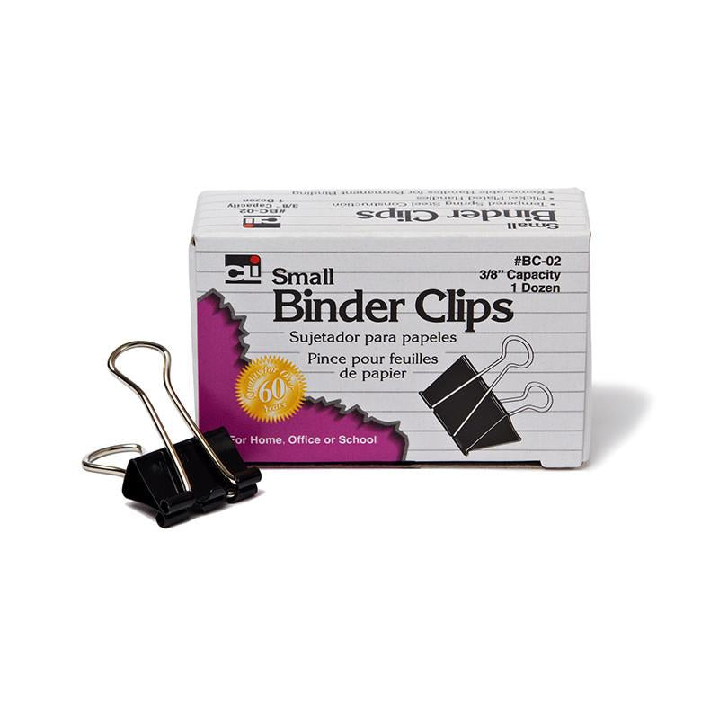 #11248 BINDER CLIPS 12CT SMALL 3/8IN CAPACITY