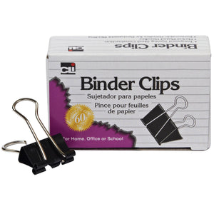 (10 Bx) Binder Clips 12 Per Bx 1in Large Capacity 2in Wide