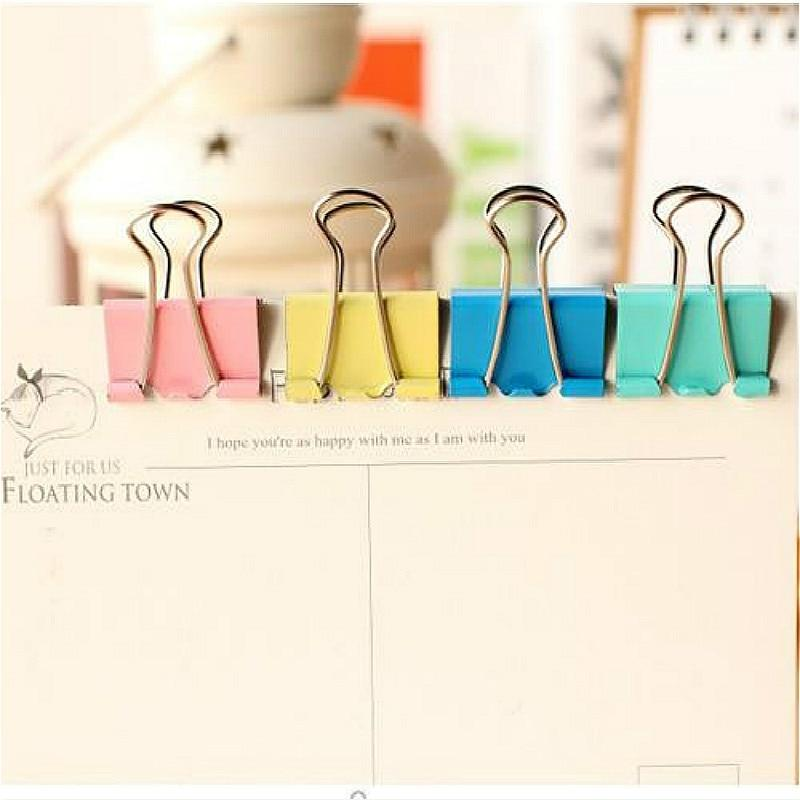 20Pcs Colorful Metal Binder Clips Paper Clip 15mm Office Learning Supplies Color Random