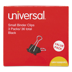 "Small Binder Clips, 3/8"" Capacity, 3/4"" Wide, Black, 36/pack"
