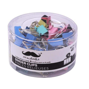 "Assorted Color Binder Clips, 1"" (25mm), 48 pcs/Box - Moustache®"